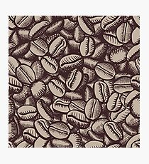 Coffee beans, brown, tillable background, illustration Photographic Print