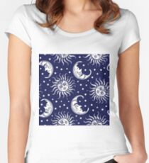 Sun and moon vintage seamless background Women's Fitted Scoop T-Shirt