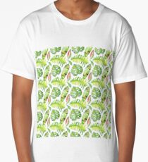 Tropical leaves seamless pattern, exotic monstera jungle print Long T-Shirt