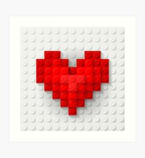 Construction brick hearts Art Print