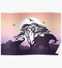 African Elephants Morning Wallpaper Poster