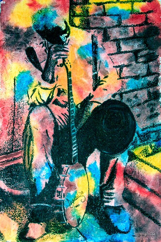 Old Man with Banjo by Legassi