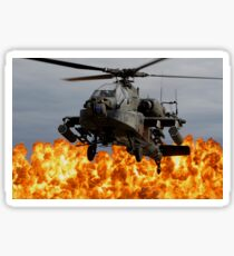 An AH-64D Apache Longbow during a combined arms demonstration. Sticker