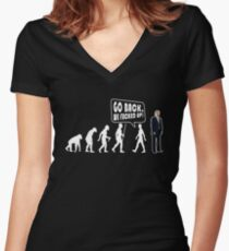 Funny Evolution Go Back T Shirt  - Cool Anti Trump Shirts Women's Fitted V-Neck T-Shirt
