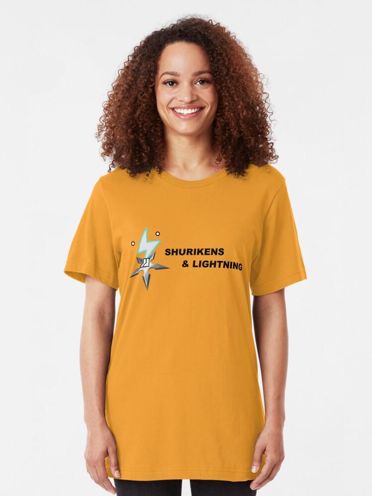 Alternate view of Shurikens and Lightning Slim Fit T-Shirt