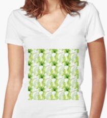 Tropical leaves seamless pattern, exotic monstera jungle print Women's Fitted V-Neck T-Shirt