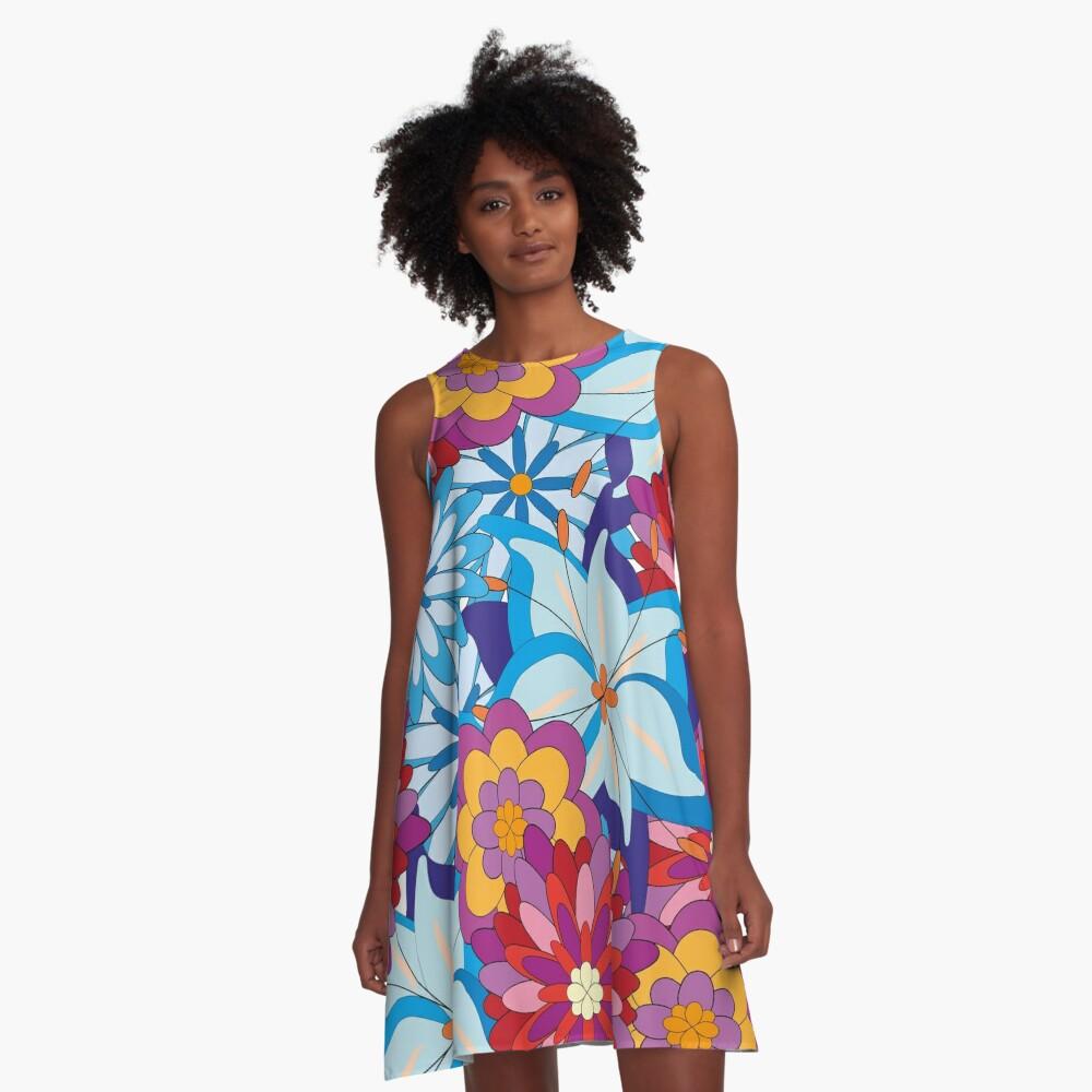 Flower Power A-Linien Kleid