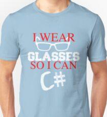 I Wear Glasses So I Can C# Programmer Developer Coder Geek T-shirt Meme joke shirts T-Shirt