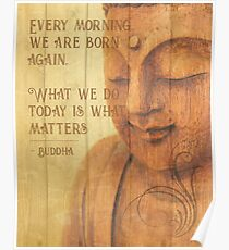 Calming Peaceful Born Again Buddha Statue Texture Print Poster