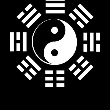 Yin Yang, I Ching, Martial Arts, Chinese, WHITE on BLACK by TOMSREDBUBBLE