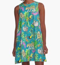 Rainforest Friends - watercolor animals on textured teal A-Line Dress