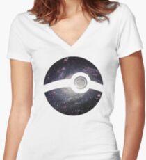 Galaxy - Pokeball Women's Fitted V-Neck T-Shirt