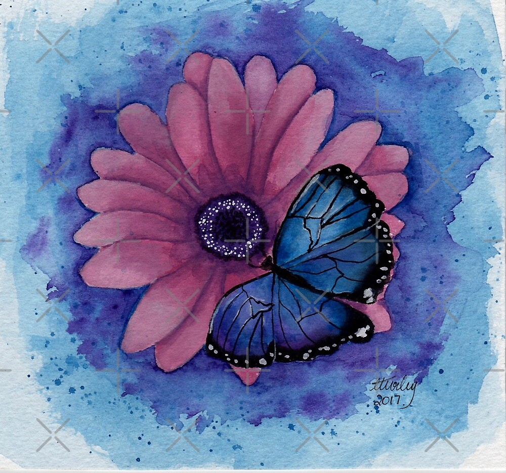Blue Butterfly Pink Flower by chrissyturley