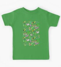 Rainforest Friends - watercolor animals on textured teal Kids Clothes