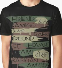 Friends From Other Ends - Camo-Blackout Theme Graphic T-Shirt