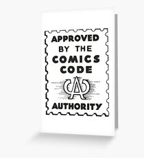 Comics Code Authority Seal Superhero Greeting Card