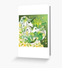 White spring unicorn with flowers and floral Greeting Card