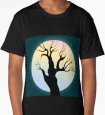 Tree and moon on a night sky Long T-Shirt