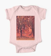 Silhouette of a stag in the forest at the autumn time 2 One Piece - Short Sleeve