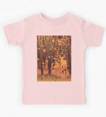 Silhouette of a stag in the forest at the autumn time Kids Tee