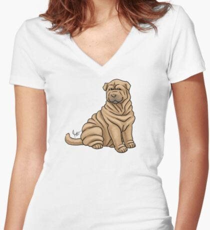 Chinese Shar Pei Women's Fitted V-Neck T-Shirt