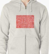 Beijing Map - Red Zipped Hoodie