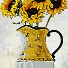 Sunflowers In A Yellow Pitcher by CJ Anderson