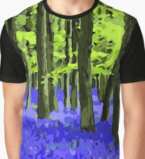 Blue Undergrowth Floral Forest Landscape Graphic T-Shirt