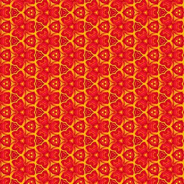 Red and Yellow Floral Pattern by Neginmf