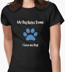 My Dog Hates Trump. I Love my Dog! - blue paw print T-Shirt