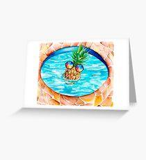 Sun-Bathing Summer Pineapple  Greeting Card