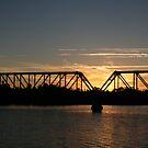 Train Bridge at Sunset by Kylie  Metz