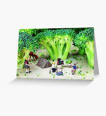 Camping Among Broccoli Jungles Greeting Card