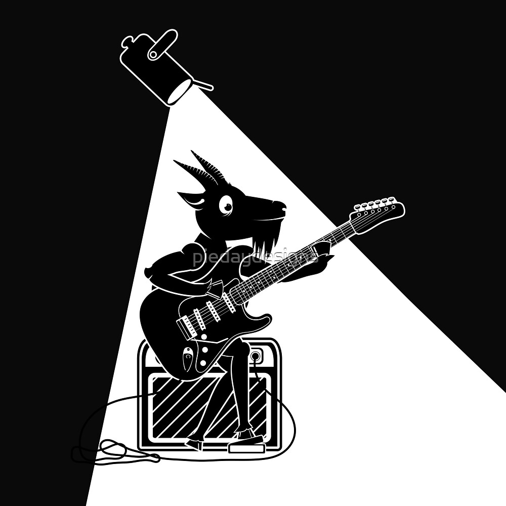 Goat Playing the electric guitar by piedaydesigns
