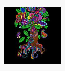 Psychedelic Paisley Tree hand-drawn Illustration on Black Background Photographic Print