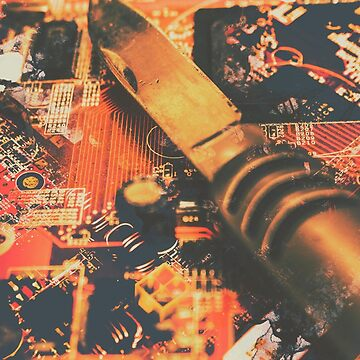 Hacking knife on circuit board by jorgophotograph