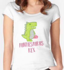 Auntiesaurus Rex Shirt, Funny Aunt Dinosaur tshirt Women's Fitted Scoop T-Shirt