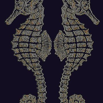 Symmetrical Tribal Seahorses Mirrored Back To Back by taiche