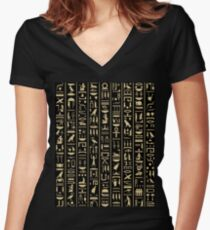 Black & Gold Hieroglyphics  Women's Fitted V-Neck T-Shirt