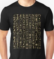 Black & Gold Hieroglyphics  Unisex T-Shirt