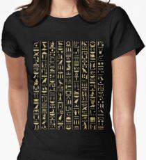 Black & Gold Hieroglyphics  Women's Fitted T-Shirt