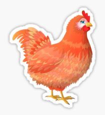 Red hen with blue eyes. A gentle hen with red feathers and beautiful eyes Sticker