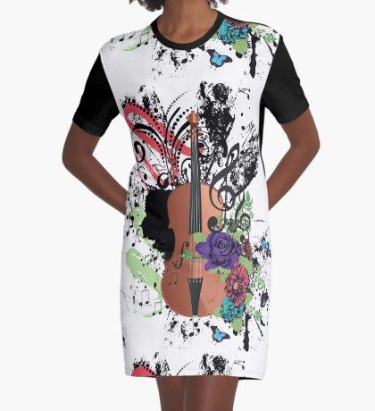 Grunge-Violine-Illustration T-Shirt Kleid