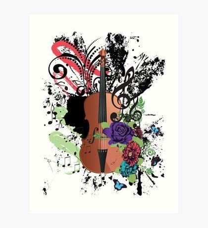 Grunge-Violine-Illustration Kunstdruck
