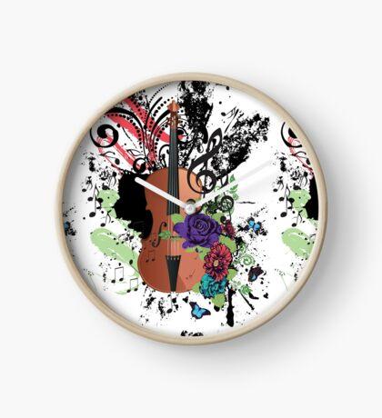 Grunge-Violine-Illustration Uhr