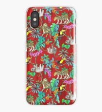 Rainforest Friends - watercolor animals on textured red iPhone Case/Skin