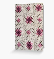 Pink and Cream Granny Squares Greeting Card