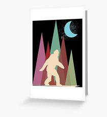 abstract big foot art wood night sky moon Greeting Card