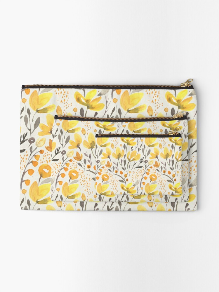 Alternate view of Yellow field Zipper Pouch