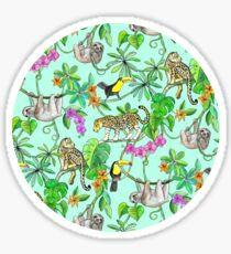 Rainforest Friends - watercolor animals on mint green Sticker